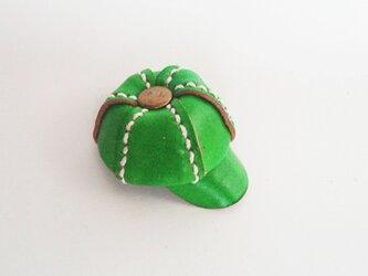 手縫いのミニチュアキャスケット(グリーン)の画像