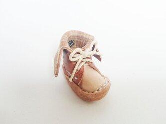 手縫いのミニチュア折り返しブーツ(茶色×チェック)の画像