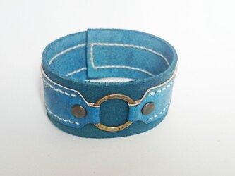 レザーのリングブレスレット(ブルー)の画像