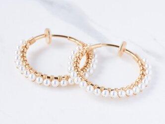 [EC] Freshwater pearl《L》Basic Hoop Ear Clipsの画像