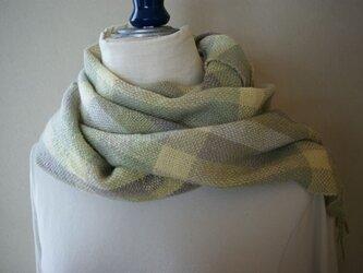 手織りのマフラー(格子柄/緑)の画像