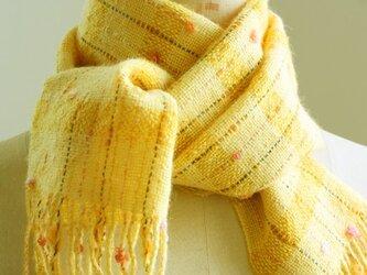 手織り 小花のマフラー   イエロー#1の画像