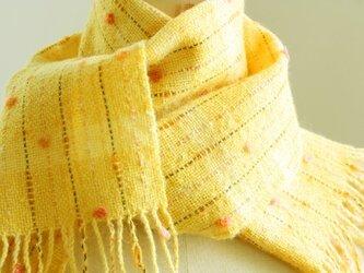 手織り 小花のマフラー   イエロー#2の画像