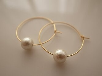*再販* cotton pearl hoop earringsの画像