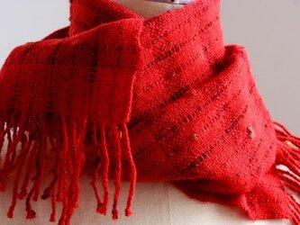 手織り 小花のマフラー   レッド#1の画像