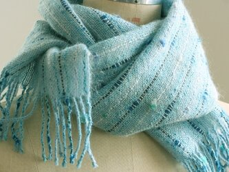 手織り 小花のマフラー   ブルーの画像