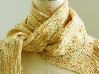 手織り 小花のマフラー   ベージュ#2の画像