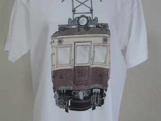 レトロの電車手描き半袖Tシャツ男性用  M・Lサイズの画像