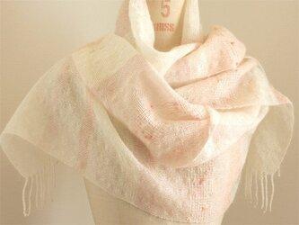 手織り 白地のストール   ピンク#1の画像