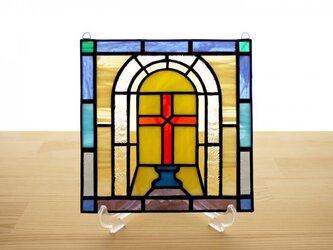 ステンドグラス ミニパネル クロス 15cmの画像