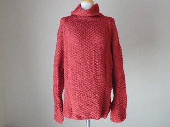 朱のラグラン編みセーター(特殊毛糸)の画像