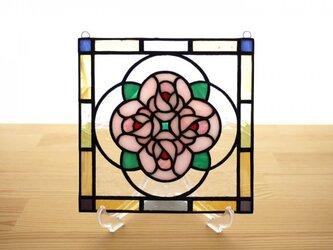 ステンドグラス ミニパネル ブーケ ピンク 15cmの画像