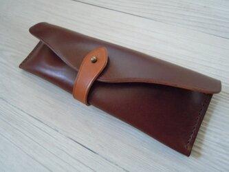 栃木レザー社製オイルヌメ革ペンケースGBR の画像