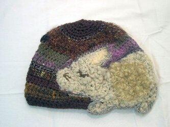 うさぎと蝶ニット帽子の画像