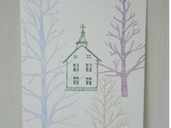 葉書〈木々の向こう 教会-3〉の画像