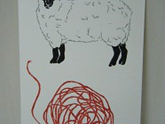 葉書〈羊 毛糸-4〉の画像