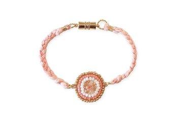 シルクリボンビーズ刺繍ブレスレットピンクの画像
