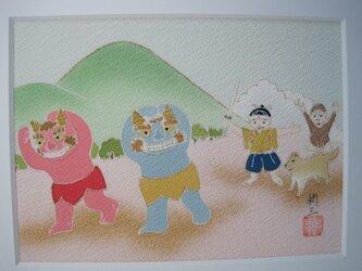 桃太郎 手描き京友禅染の絵のみです。の画像