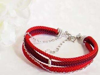 ●kono (red)絹くみひも5連ブレスレットの画像