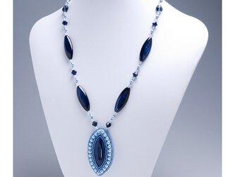 オーバルシェルペンダント・ネックレス・ブルーの画像