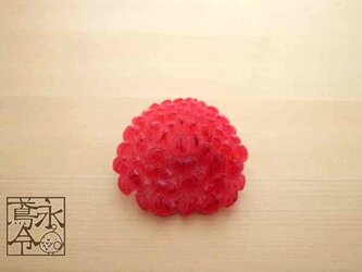 ブローチ 赤色の大菊の画像
