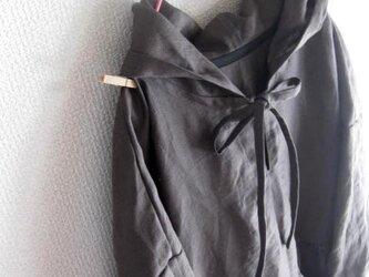 【受注製作】W50長袖フード付きリネンワンピース★チャコールグレーの画像