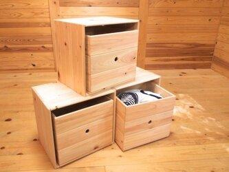 ひのきのフリーボックス【3個セット】+収納ボックス3つ付きの画像