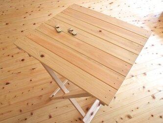 ひのきの折りたたみテーブルの画像