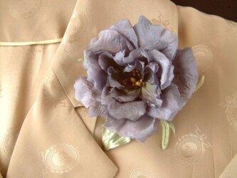 トルコききょう 紫 ⋆ シルクヌメ製 * コサージュ 髪飾りの画像