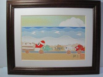 タコ電車 手描きの京友禅染 絵のみの画像