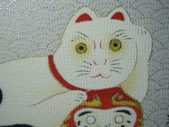 ダルマと招き猫 手描きの京友禅染 絵のみの画像