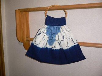 藍染絞り 手提げバッグの画像