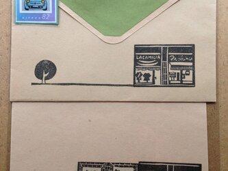 手彫りはんこ*オリジナル切手付きレターセット*の画像