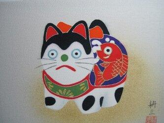 犬張子東京都(2)手描きの京友禅染 絵のみの画像