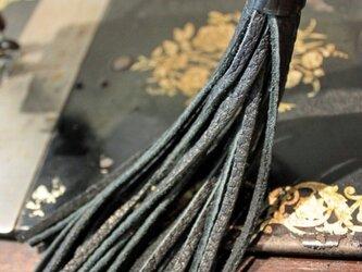 あわじ玉付 革タッセル (黒)の画像