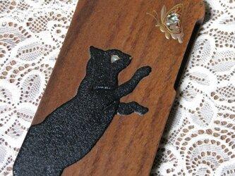 黒猫と蝶蒔絵 iPhone 5/5s ウッドケースの画像