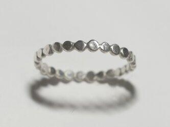 《単品/丸》シルバーの小粒幾何学モチーフリング/再販〈図形・記号・槌目・ドット・サークル〉銀、Silver925の画像