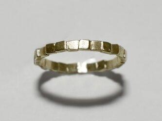 《単品/四角》真鍮の小粒幾何学モチーフリング/再販〈図形・記号・槌目・ドット・サークル〉Brass、ゴールドの画像