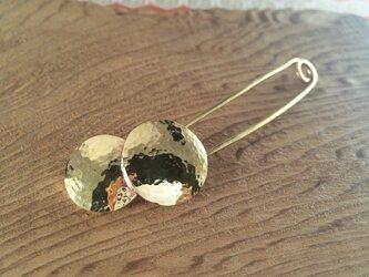 太陽と月 真鍮鍛金ストールピン/ブローチの画像
