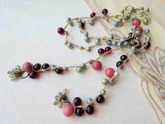 ピンク&モスグリーン 編み編みラリエットの画像