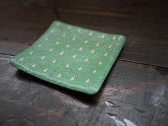 金網乾漆トレイ 緑にドットの画像