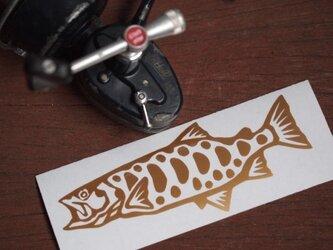 切り絵ステッカー ヤマメ(ゴールド)の画像
