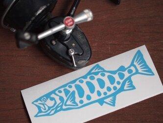切り絵ステッカー ヤマメ(水色)の画像