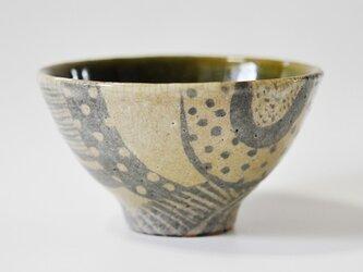 織部のモダン柄お茶碗の画像