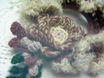 【sold】イタリア製モヘアとウールのお花シュシュ♪桜色の画像