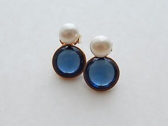 2way pearl + glass - navy blueの画像