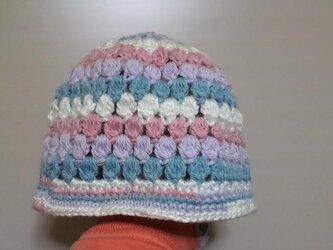 玉編みのニット帽の画像