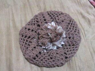 ぽんぽん付きベレー帽の画像