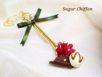 【送料無料】チョコレートとお花のスプーンのせキーホルダー♡の画像
