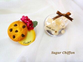 【送料無料】こぼれたミルクティーとクッキーのマグネット♡の画像